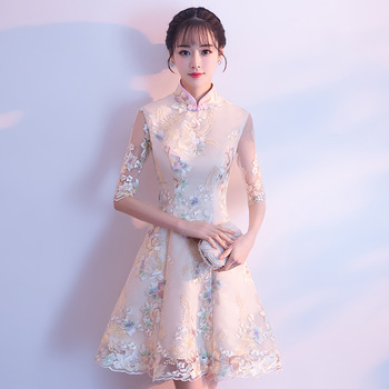 Chinese Bridesmaid Wedding Party Dress Embroidery Floral Classic Cheongsam Elegant Mini Slim Qipao Vestidos Plus Size XXXL