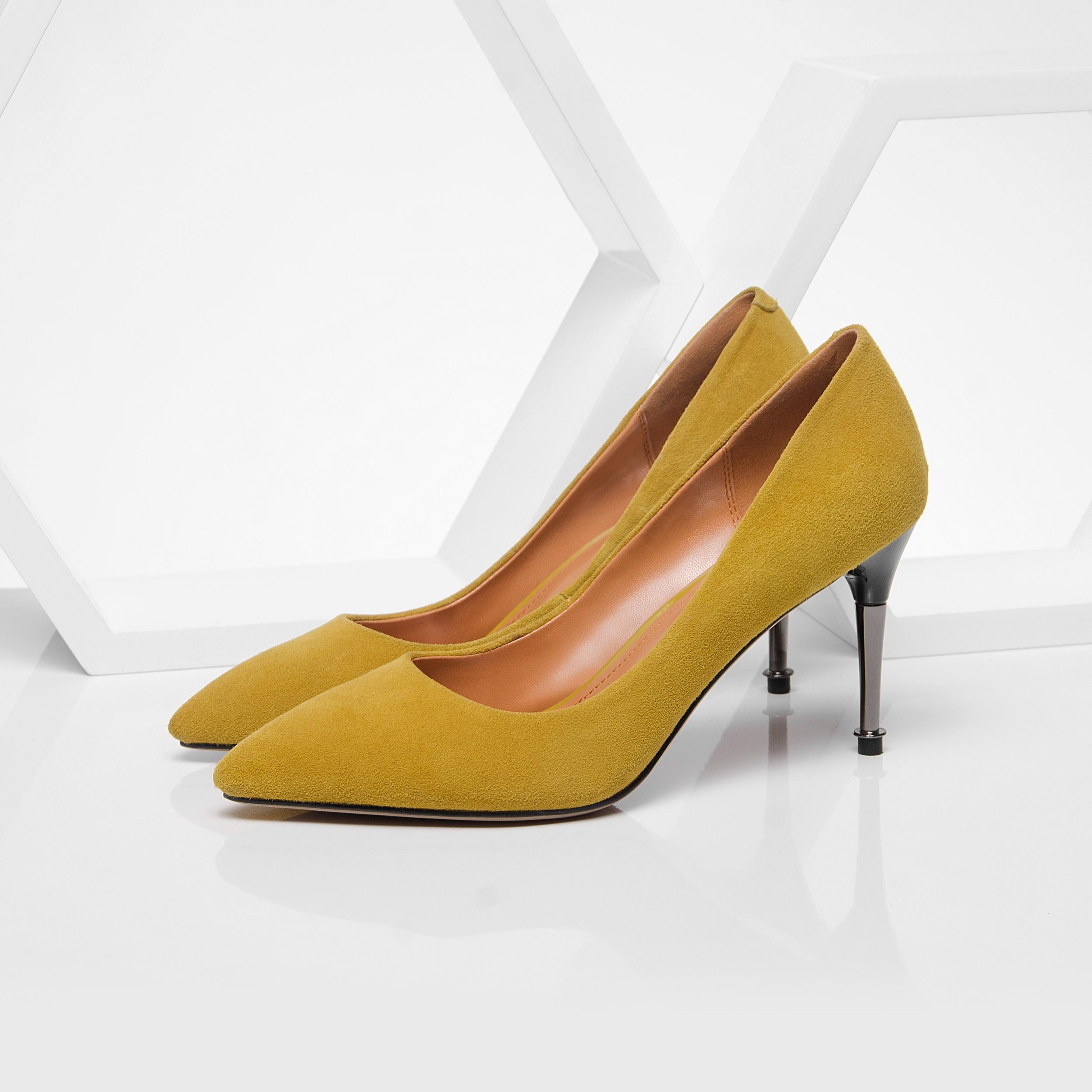 Cuero Fina Alto amarillo Gamuza Tacón Cm Para Mujer Chico 5 2019 Negro Zapatos De Sexy Verano 8 Primavera wTXzzqRn0