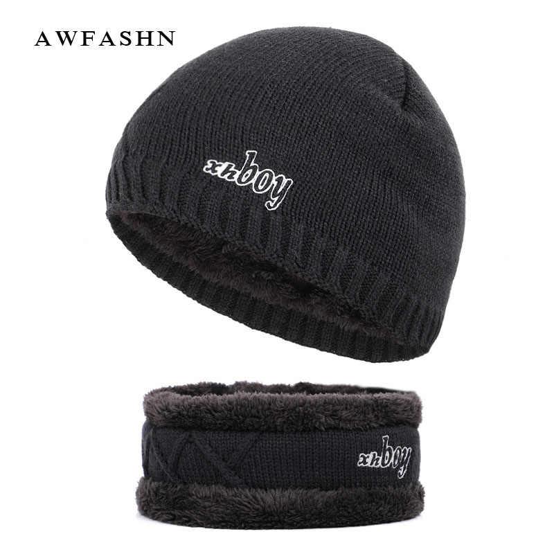 3733201ad75 New Fashion XHBOY Solid Color Knit Beanie Hat Winter Men Plus Velvet  Thicken Hedging Cap Warm