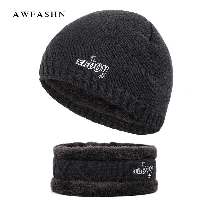 New Fashion XHBOY Solid Color Knit Beanie Hat Winter Men Plus Velvet Thicken Hedging Cap Warm Brand Skullies Bine Male Ski Sport knit cap