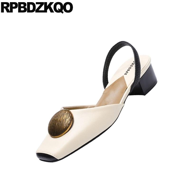 2018 Grueso Tamaño Elegante 4 Cuadrado En Damas Resbalón Retro Pie Beige Dedo Del Vintage Correa Bajo 34 Gruesa Sandalias De Zapatos Tacón Verano O6dZwxW