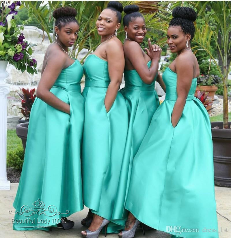 Teal Turquoise Sexy High Low Long Country African Bridesmaid Dresses With Pockets 2017 Black Girl Wedding Party Gowns Sho Me In From