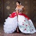 Branco bordado vermelho vestidos quinceanera 2017 vestido de baile off ombro babados de organza apliques sweet 16 vestido vestido de 15 años
