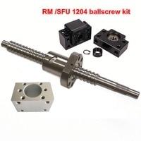 EU free shipping SFU / RM 1204 Ballscrew L300/ 400/500/600mm+ 1204 Ballnut + BK/BF10 End support+ Ball Nut Housing for CNC