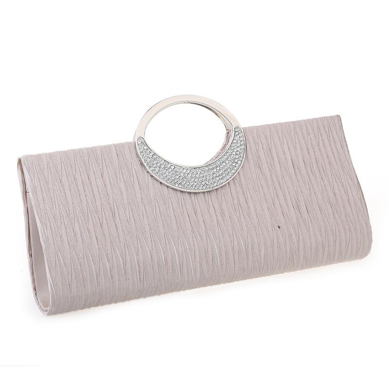 Luxury Evening Clutch Bags Fashion Rhinestone Satin Pleated Women Evening Bag Wedding Party Handbag Clutch Purse Bolsos Mujer