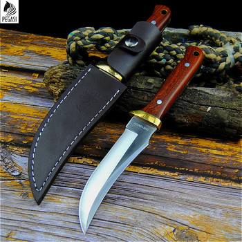 PEGASI 7HR15MOV tactical straight knife north American sharp hunting knife outdoor self-defense knife home slice knife + holster 3