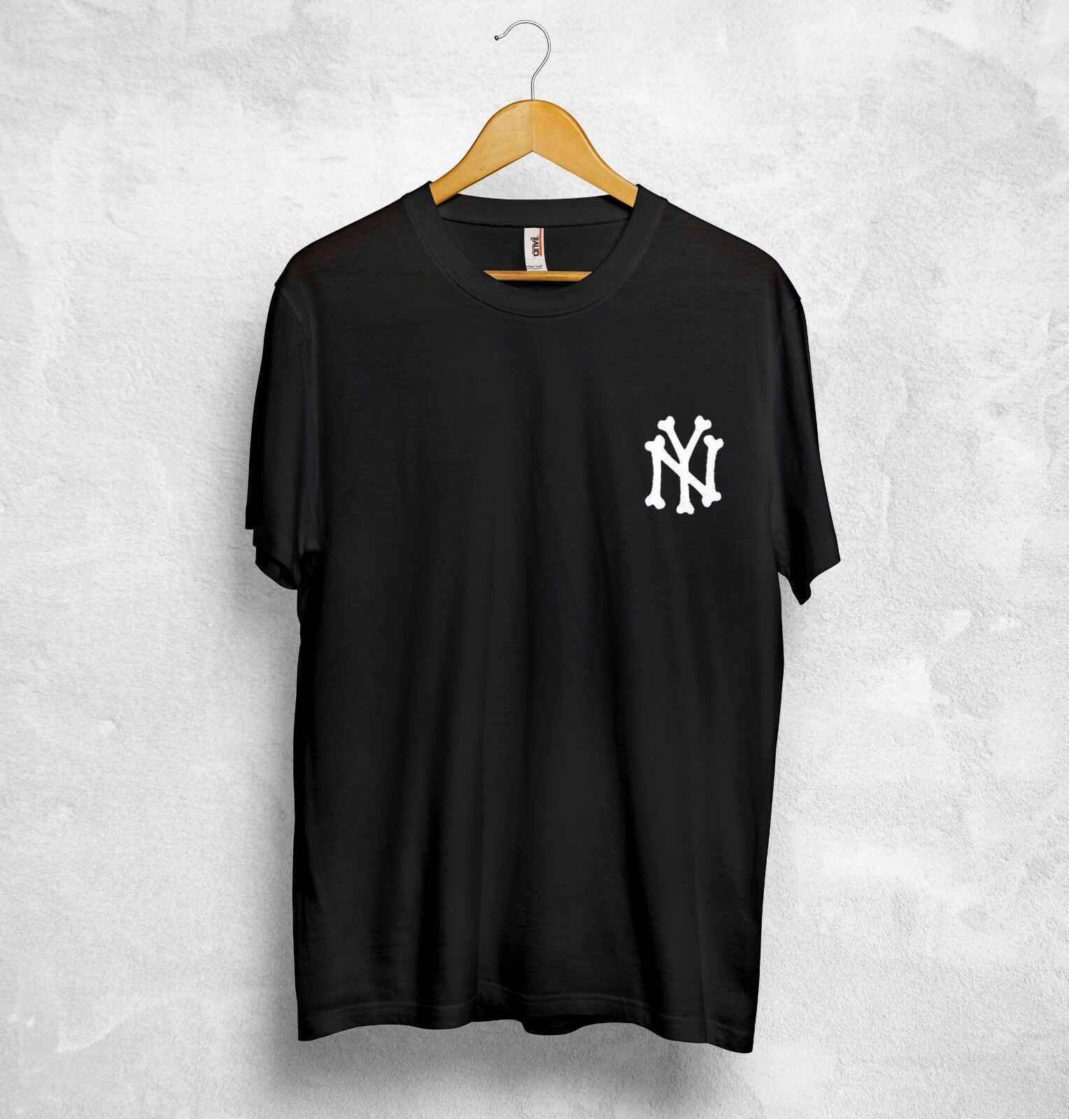 NY Logo Botten T-shirt Top Yankees USA Stijl Baseball Retro Sport Amerika Gift