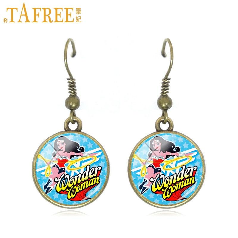TAFREE 2017 Wonder Woman Jewelry super hero Pendant earrings colourful batgirl for women party popular style trendy jewelry H687