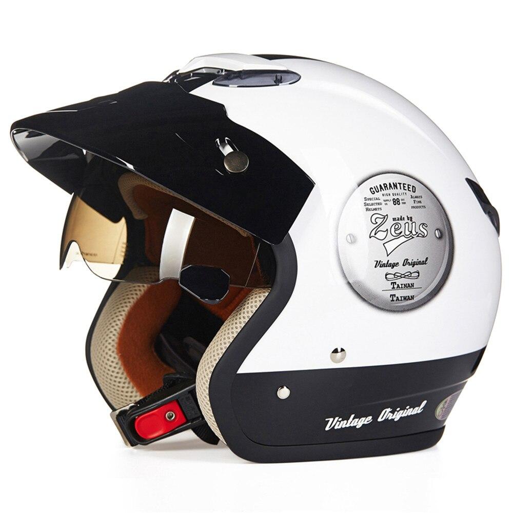 ZEUS Cruiser Motorcycle Helmet Chopper 3 4 Open Face Vintage Helmet 381Z Moto Casque Casco Motocicleta