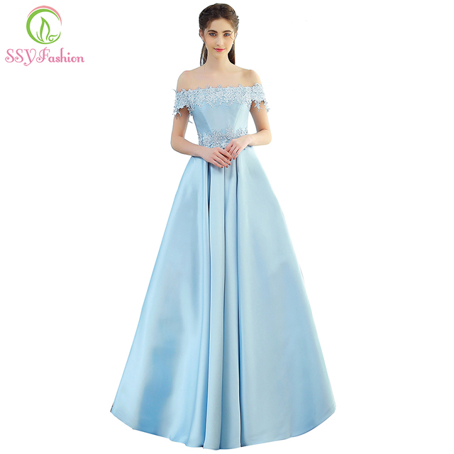 SSYFashion New The Bride Banquet Elegant Evening Dress Sweet Light Blue  Simple Satin Lace Appliques Long Party Prom Formal Gown 03ce5b10da06