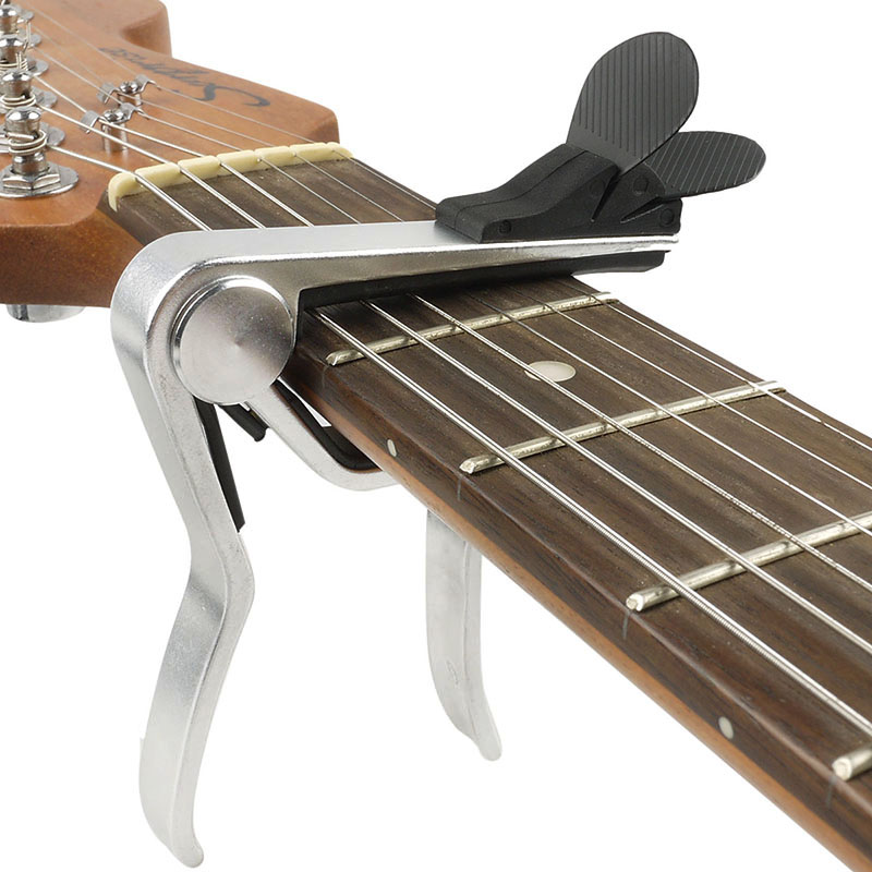 Function Silver Alloy Guitar Capo With Pick Holder, Cappo For Acoustic/ Electric/ Classical Guitar New hot 8x meideal capo10 acoustic electric guitar quick change trigger capo clamp black
