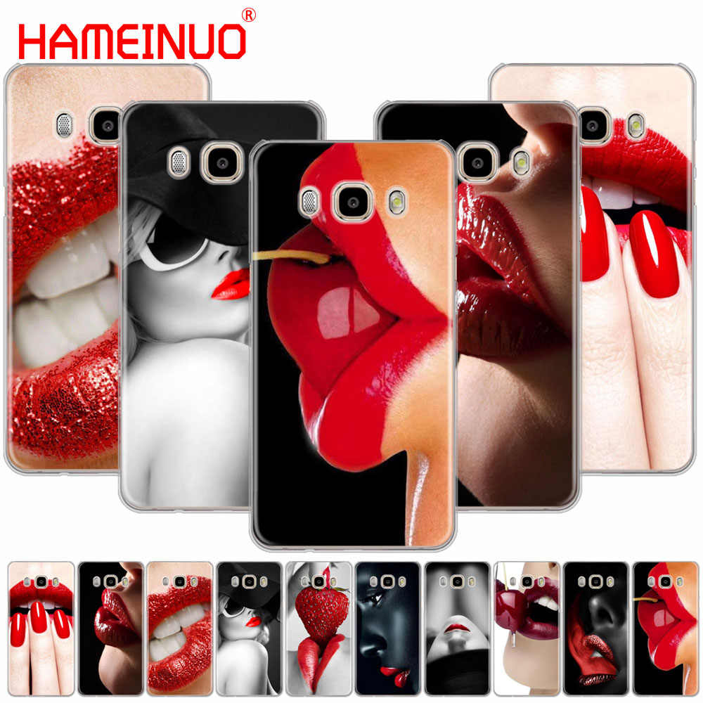 HAMEINUO Kırmızı Seksi Dudaklar kız Lüks Kore Monroe kapak telefon samsung kılıfı Galaxy J1 J2 J3 J5 J7 MINI ACE 2016 2015 başbakan