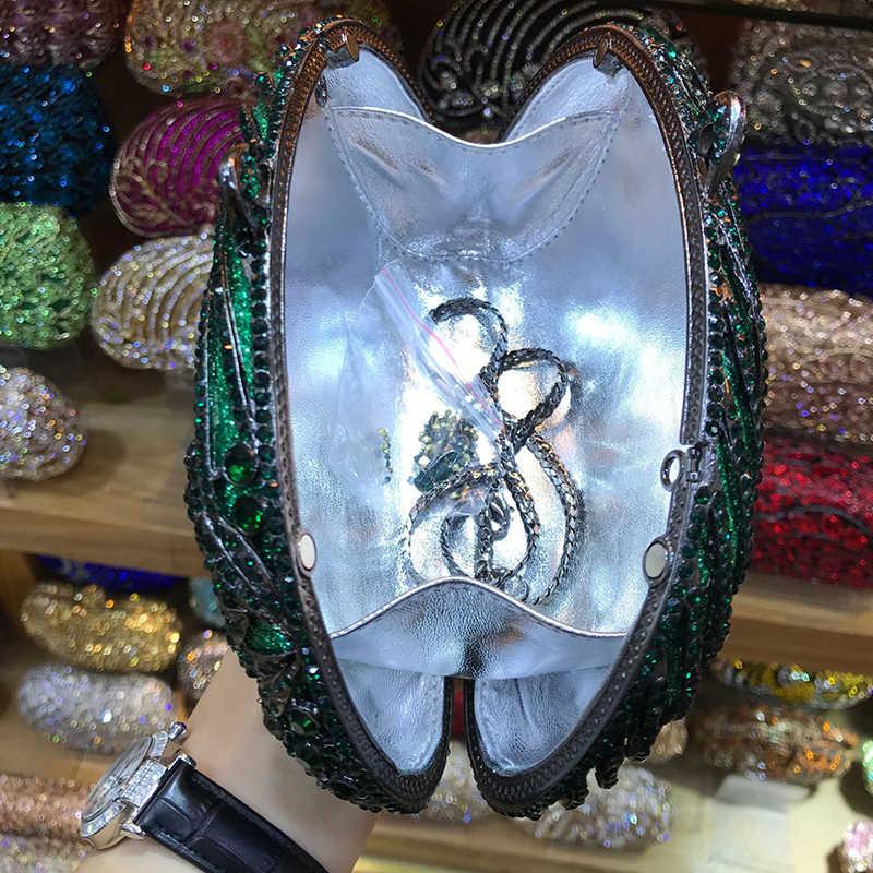 Зеленый Цвет выдалбливают бриллиантовые клатчи Minaudiere клатч женские вечерние сумочки женские вечерние клатчи сумка Кристалл женские кошельки