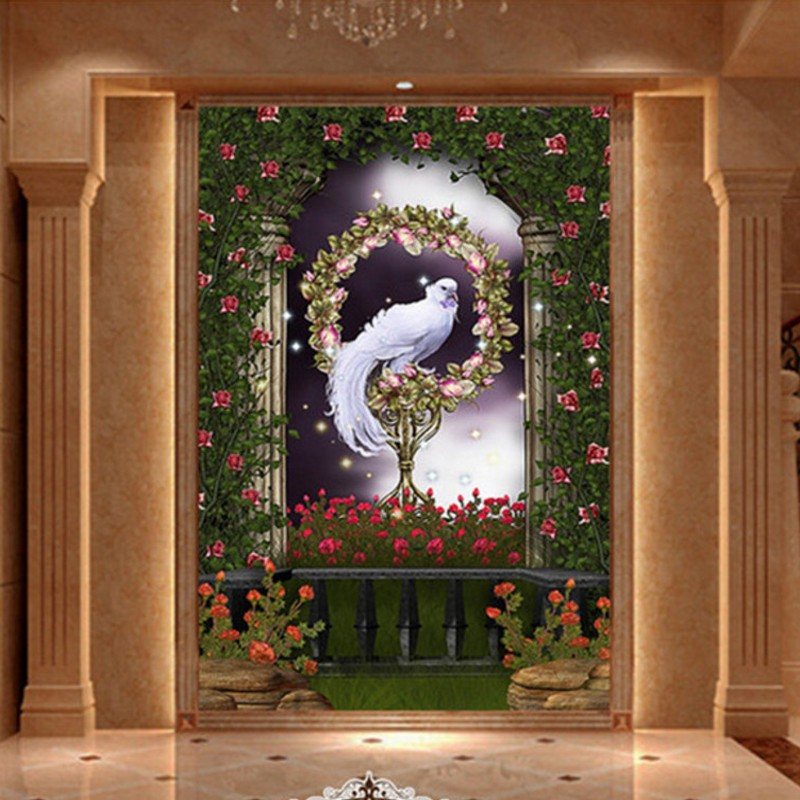Custom photo wallpaper 3D stereo custom murals Romantic white love bird Scenery background wallpaper Living room decorative