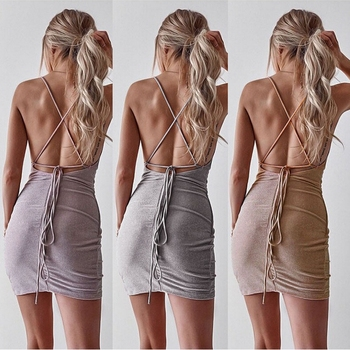 New Women Sequined Bodycon Sparkly Backless Bandage Sleeveless Evening Party Club Mini Dress Sundress 2