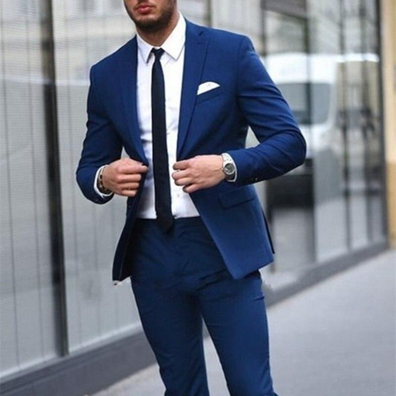 High Quality Blue Mens Suits Costume Homme Groom Tuxedos Groomsmen Wedding Party Dinner 2017 Best Man Suit (Jacket+Pants+Tie)