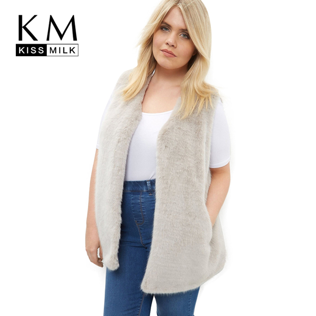 Kissmilk Plus Size New Fashion Women Clothing Casual Solid Streetwear Outwear O-Neck Regular Warm Big Size Vest 3XL 4XL 5XL 6XL