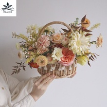 Wicker Handmade Flower Basket Woven Straw Garden Pot Fruit Baske