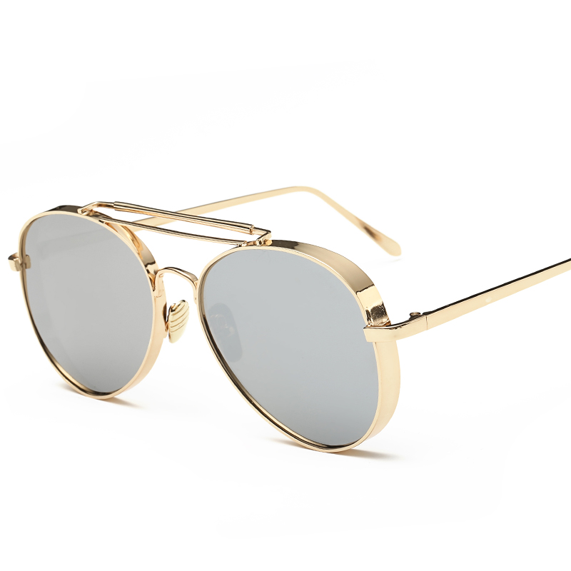 2016 New SPLIT Women Aviator Sunglasses Fashion Women Brand Designer Coating Mirror Sun glasses Female Sunglasses
