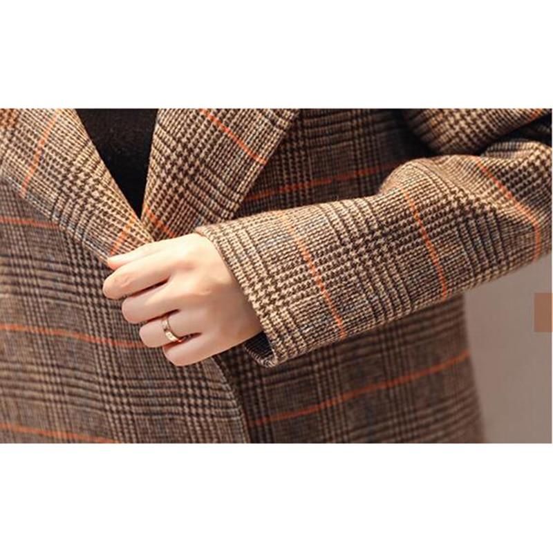 Femmes Haute Hiver Taille Nouvelles À Longues Carreaux Automne Grande Mode Manches Laine De Odfvebx Coffee fin Long Manteau Moyen Veste Femme 6EXqnxwdx