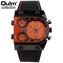 Nueva Oulm Reloj Deportivo Hombres Zona Horaria Múltiple Reloj Militar Correa de Cuero Relojes de Cuarzo de Moda Reloj Fresco Masculino