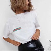Unisex Designer Striped Cotton Summer Top 2018 Newest Short Sleeve Flower Embroidery Letters Chic Casual Loose