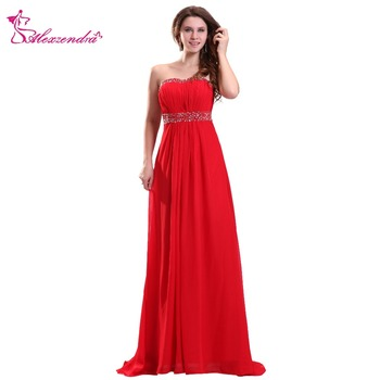 Alexzendra Red Chiffon A Line Evening Dress Sweetheart Simple Prom Dresses Plus Size Special Party Dresses