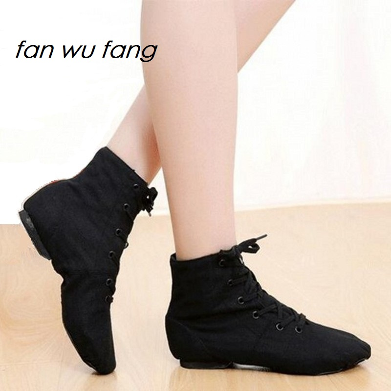 Fan Wu Fang 2017 New Sports Dancing Sneakers Jazz Dance Shoes Lace-Up Soft Sole High-top Men Women Children Black White Blue Red
