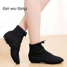 fan wu fang 2017 New Sports Dancing Sneakers Jazz Dance Shoes Lace-Up Soft Sole High-top Men Women Children Black White Blue Red