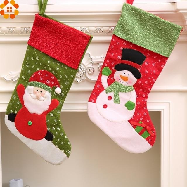 2 SZTUK Christmas Stocking Uchwyt Torby Prezent Na Boże Narodzenie Santa Claus Posiadacze Home Decor Christmas Party Decoration Supplies Dzieci Prezenty