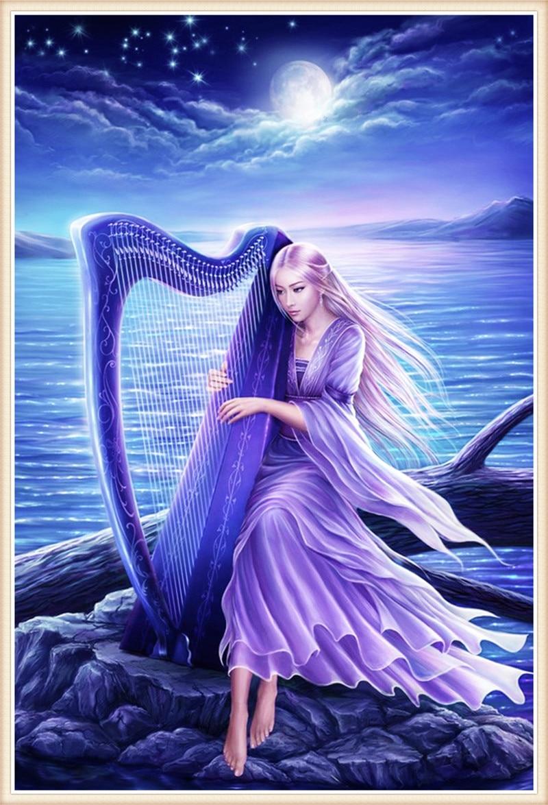 5d Diy Diamond Painting Moon Fairy Harp Cube Drill Cross