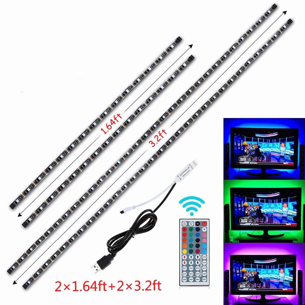 USB LED Strip DC 5 V Tahan Air RGB 5050 SMD Lampu LED Berubah Warna TV Pencahayaan Latar Belakang 44key IR Remote controller Strip Set