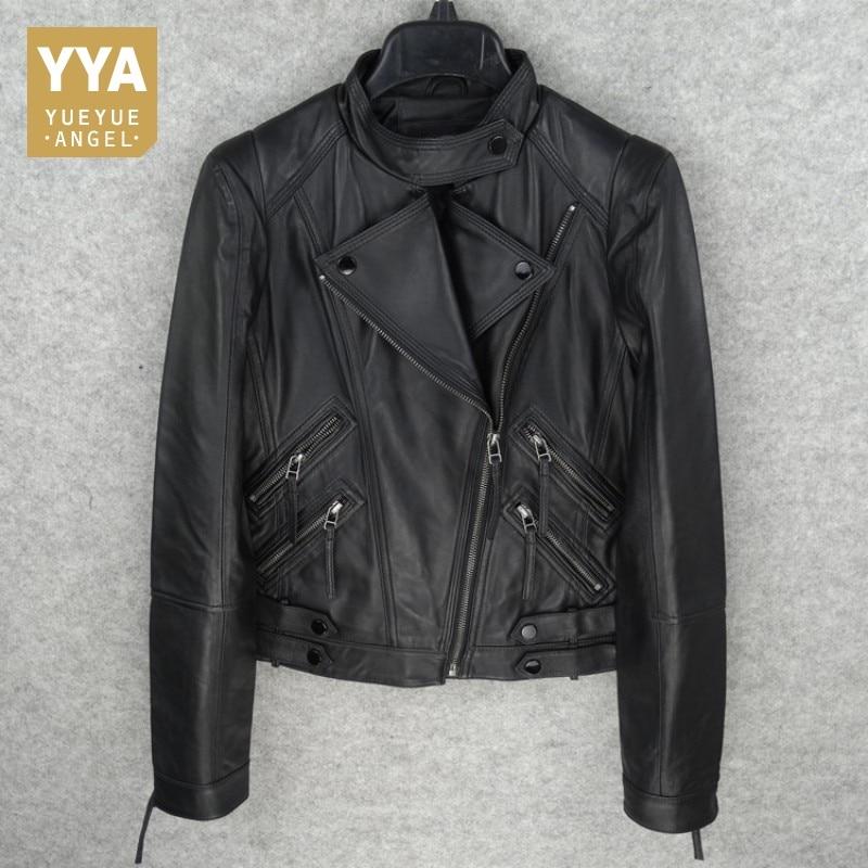 2019 New Winter Womens Slim Short Coat Fashion Solid Genuine Leather Biker Jacket Female Casual Pocket
