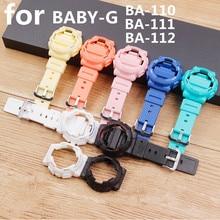 Acessórios de relógio caso pulseira de resina para casio BABY G BA 111 BA 110 BA 112 120 à prova dwaterproof água pulseira de relógio feminino