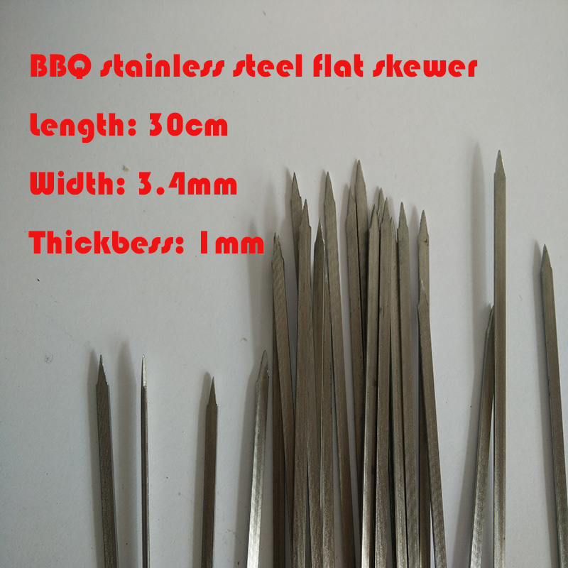 50pcs/lot 30cm*3.4mm stainless flat skewer barbecue fork stainless bbq food stick BBQ Tools Kitchen,Dining & bar Home & Garden