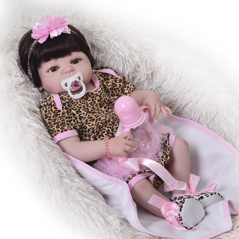 Lifelike 57cm Full Silicone Vinyl Reborn Girl Baby Doll Toy Wear Leopard Dress Newborn Babies Doll Cute Child Bedtime Play Gift цена