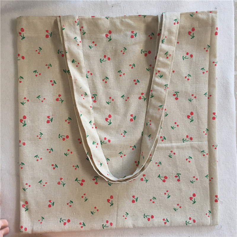 YILE Cotton Linen Shopping Tote Shoulder Carrying Bag Eco Reusable Bag Printed Red Cherry NEW L023