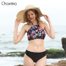 Charmo Women Halter-neck Bikini Set High Neck Cross Swimwear Retro Wave Printed Swimsuit Sexy Bikini Bathing Suit Beachwear high neck mesh panel bikini set
