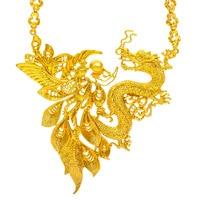 Retro Dragon & Phoenix Pendant Necklace Amulet Bridal Wedding Gold Filled Charm Jewelry Gift