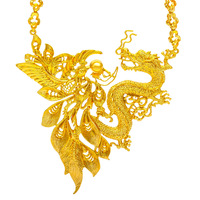 Retro Dragon & Phoenix Pendant Necklace Amulet Bridal Wedding Gold Filled Charm Jewelry Gift