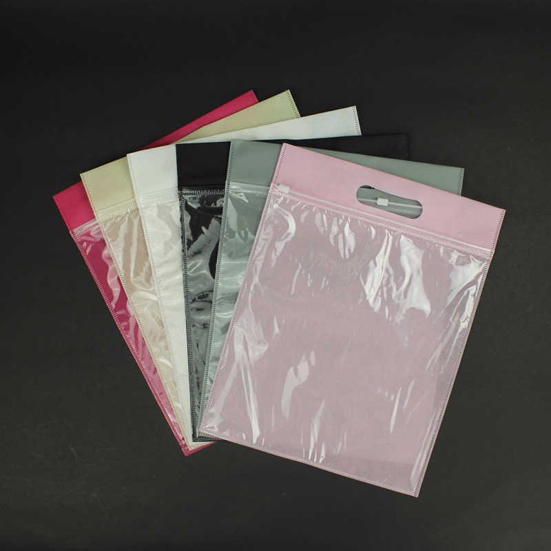 20 peças/lote tecido não tecido sacos de compras com zíper aceitar logotipo personalizado para a roupa/sapatos/T-shirt do presente chrismas