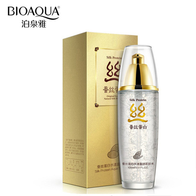 BIOAQUA Brand Silk Protein Skin Care Hyaluronic Acid Liquid Toner Anti Wrinkle Anti Aging Serum Moisturizing Whitening 100ml