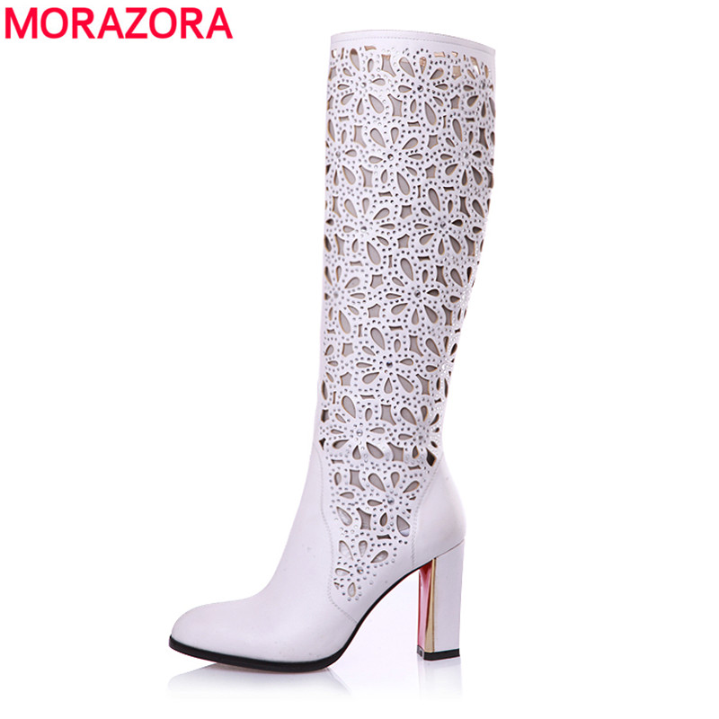 MORAZORA EUR Size 34-41 new fashion knee high boots pointed toe autumn summer boots for women high heels party dress shoes woman new 2017 spring summer women shoes pointed toe high quality brand fashion womens flats ladies plus size 41 sweet flock t179