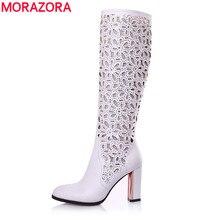 Morazora eur размер 34-41 новая мода колено высокие сапоги острым носом осень лето сапоги для женщин высокие каблуки платье партии обувь женщина