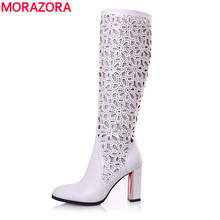 Morazora eur tamanho 34-41 nova moda do joelho botas altas dedo apontado outono botas de verão para mulheres de salto alto vestido de festa sapatos mulher