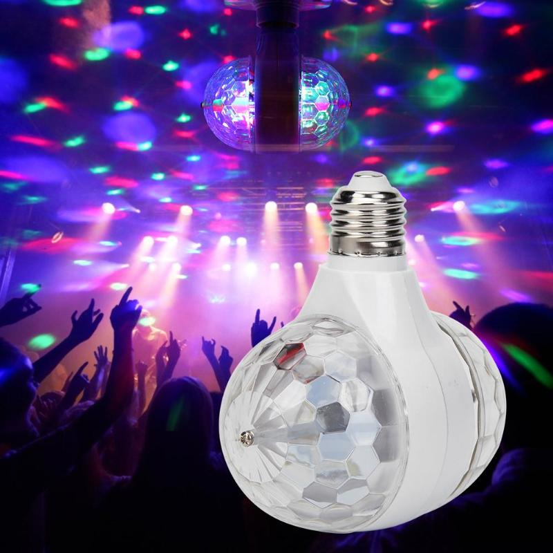 E27 3W Double-headed Colorful Auto Rotating RGB LED Bulb Stage Light Magic Ball Disco Lamp For Party Wedding