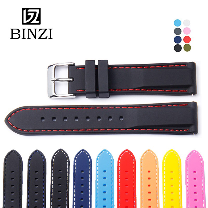 BINZI Watch Band 18mm 20mm 22mm 24mm Silicone Rubber Sport Soft Watchbands Strap Mens Womens Watches Band Belt for Tissot dw hot sale 1000ml roland mimaki mutoh textile pigment ink in bottle color lc for sale