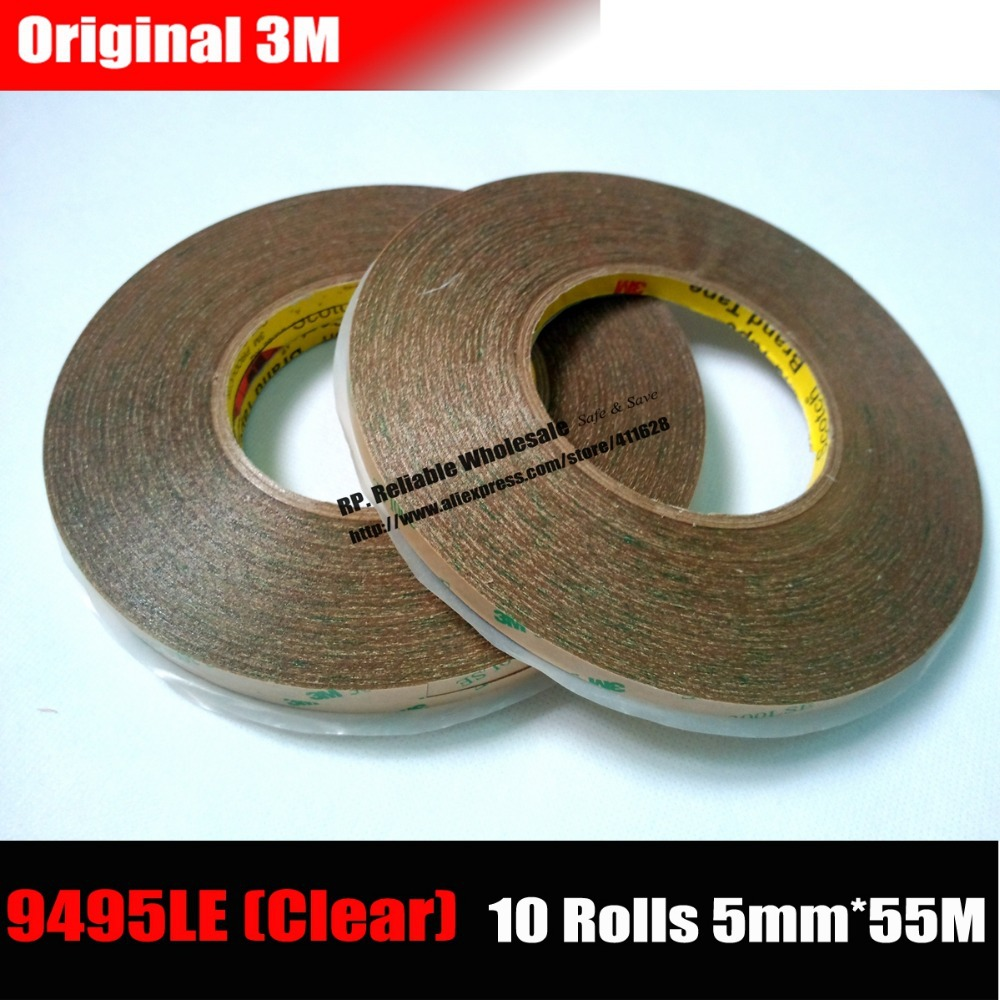 10 Rolls (5mm*55M*0.17) Ultra Strong Adhesion 3M Double Sided Adhesive Tape, Transparent Waterproof for Phone Screen Display miaogy 5 rolls 6mm 25m strong pet double sided adhesive tape for auto car abs plastic panel battery glass bond