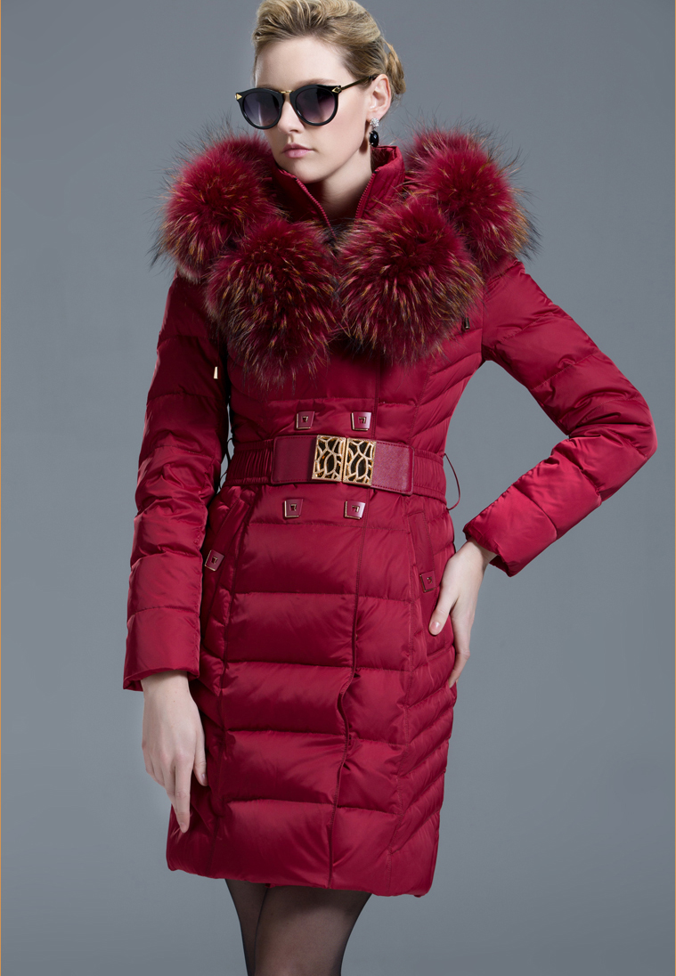 Luxury Large Fur Collar Hood 2017 Down Coat Women Fashion Medium-long Ladies Thick Winter Clothing Black Red Black Blue Green