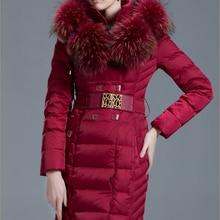 Luxury Large Fur Collar Hood 2017 Down coat Women Fashion Me